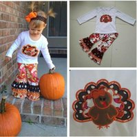 Wholesale new arrival baby outfits resale online - New Arrival Autumn Baby Girls Thanksgiving Clothing Boutique Turkey White Top Print Ruffle Pants Children Boutique Outfits T015