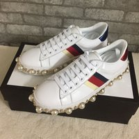 Wholesale Espadrilles Ladies Shoes - Top Quality Ace Pearl Studded Leather Sneakers Women Embroidered Flat Shoes 15 Colors Rivets Lady Sport Walking Shoes Espadrilles
