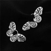 Wholesale Fly Earrings - Flying Butterfly Big Earring Cute Lovely Cool Romantic Shinning Cubic Stone Young Lady Needle Silver