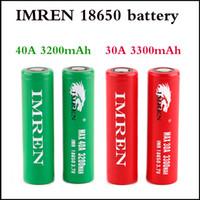 Wholesale Electonic Cigarettes - Hot Irmen 18650 battery 3200mAh 40A 3300mAh 30A High Drain Batteries Rechargable Lithium Battery For Electonic Cigarette mod 100W 220W