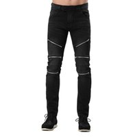 Discount motorcycle designs - Wholesale-Men Jeans Design Fashion Zipper Style Race Motorcycle Jeans For Men Hip Hop Jeans E5062