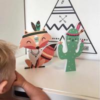 mobilier de chambre d'enfant achat en gros de-3D Cactus Fox Stickers Muraux Enfants Bande Dessinée Salle Décoration Enfants Chambre Armoire Meubles Autocollant Décor De La Pépinière