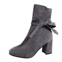ботильоны на высоких каблуках оптовых-Mnycxen Casual Women Ankle High Heels Bow zipper  Boots Ladies Shoes Zapatos De Mujer Bota Feminina Chaussures Femme 25