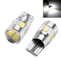 lentes de marcador de coche al por mayor-T10 5630 6SMD Lente del proyector Bombillas LED Proyector Bombillas de aluminio sólido Marcador lateral Luz de estacionamiento Accesorios exteriores del vehículo OOA5026