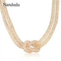 Wholesale Guided Wire - Nandudu Rose Wire Mesh Crystal Necklace Knot Choker Layered Guide Fashion Jewelry Female Gift CN36 CN37