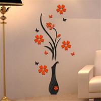 ingrosso cucina in carta da parati pvc-Fai da te Vaso Albero di fiori 3D Wall Stickers Decal Home Decor Adesivo De Parede Sfondi per soggiorno Cucina Decorazioni