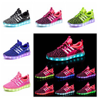 Wholesale light blue baby shoes online - Children LED Shoes Kids Casual Luminescence Shoes Colorful Glowing Baby Boys Girls Sneakers USB Charging Light up outdoor Shoes GGA1043