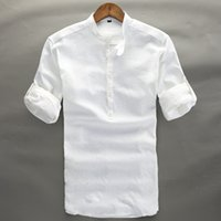 Wholesale high collar quarter sleeve - Summer Linen Shirt Men High Quality Casual Three Quarter Regular Sleeve Comfortable Tops Thin Fit White Popover Linen Tees Male