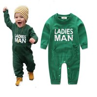 monos verdes para bebés al por mayor-Baby Green Christmas Jumpsuit INS Kids letter print Romper Boy Body de manga larga Outwear 4size for 6-24M