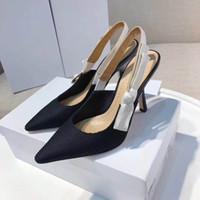 slingbacks talons achat en gros de-Designer femmes sandales hauts talons haut pompes qualité escarpins 6 couleurs dames habillées en cuir verni chaussures simples