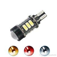 bombilla led amarilla lente al por mayor-40pcs 3 colores T15 5730SMD 12LED + 1.5W 9W Wedge Car LED Light Canbus Sin error Bombillas LED con lente # 1438
