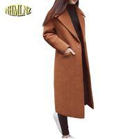 abrigo largo de lana para damas al por mayor-2018 Otoño Invierno Nuevas Mujeres Calientes Chaqueta de Lana de Moda Sección Larga prendas de Vestir Exteriores Delgadas Elegantes Señoras de Corea Escudo Temperamento LY180