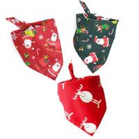 welpen pullover hut großhandel-50pcs / lot 100% Baumwolle Hundeschal Bandana Hundesalon Hund Halstuch Einstellbare Dreieckige Schal Weihnachtsgeschenk