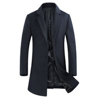 mens lange erbsenmantelwolle groihandel-Mens Einreiher Reversed Woolen Trenchcoat 2018 Herbst Winter New Long Wool Trenchcoats Geschäft Gentlemen Pea Coat