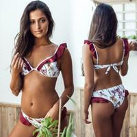 bikini grande damas al por mayor-Mujeres Bikini Brasileño Atractivo Con Cuello En V Floral Gran Hoja de Loto Bikini Con Volantes Traje de Baño Cordón Traje de Baño de Señora Summer Beachwear
