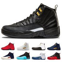 Wholesale college shoes - New 12 Michigan Men basketball Shoes International Flight College Navy taxi white black gym Red Flu Game gamma blue trainer Sports sneakers