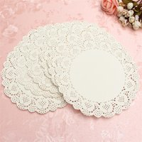 Atacado- 160pcs White Round Lace Paper Doilies Placas Mats Coasters Placemats Wedding Events Party Table Gift Bag Acessórios decorativos