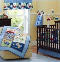 Wholesale car quilts resale online - 5Pcs Crib flyer bedding set Embroidery car Sea turtles letter Baby bedding set cotton Cot bedding set quilt bumper Bed skirt
