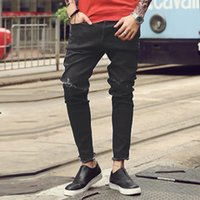248a93b775278 New Men 'S Jeans Ripped Holes Pants Korean Style Influx Black Casual  Trousers Cool Stretch Man Pants 2016 Spring And Summer
