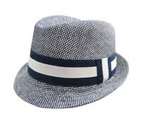 fedora gris al por mayor-Boy Sombrero Panamá gris del bebé Kids Fashion Caps Boy sombrero del cubo de la foto del bebé Puntales verano de los cabritos Sombreros de invierno All Seasons