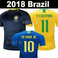 Wholesale brazil football kits - New 2018 Brazil World cup jerseys NEYMAR JR men women Brasil Jersey JESUS COUTINHO MARCELO FIRMINO football kit shirt camisa de futebol
