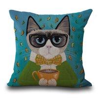 oreillers chat anime achat en gros de-Dessin animé mignon chat taie d'oreiller crâne coussin couvre animal taie d'oreiller pour la maison canapé décorations taie d'oreiller