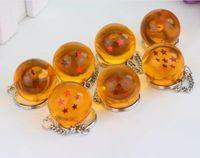 ingrosso portachiavi di cristallo a forma di drago-7pcs / set 2.5cm Dragon Ball Z Nuovo in borsa 7 stelle Crystal Balls PVC Figure giocattoli pendente portachiavi