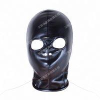 ingrosso black hood sex-Bondage maschera sexy copricapo con fori per gli occhi in pelle maschera cappuccio per gli uomini per adulti giochi per adulti cosplay CS gioco completo testa nera