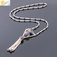 Wholesale mineral necklaces resale online - CSJA Women Long Statement Necklaces Mineral Stone Hematite mm Crystal Glass Seed Beads Jewelry Tassel Fringe Pendant Sweater Necklace S232