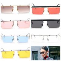 Wholesale vintage half frame sunglasses wholesale - Slim Square Sunglasses Men Women Vintage Metal Half Frame Rectangular Outdoor sports SunGlasses Outdoor Eyewear GGA145 10PCS