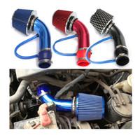 rote aufnahme großhandel-Universal Performance Kaltluftansaugfilter Alumimum Induction Pipe Schlauchsystem rot blau und schwarz für das Auto
