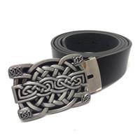 e2ac1bd2742 Ceinture en cuir de haute qualité pour hommes avec noeud celtique boucle en  métal fashion Black PU cuir vintage ceintures de cow-boy pour hommes