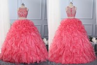 Wholesale Cheap Two Piece Quinceanera Dresses - Fashion Two Pieces Quinceanera Dresses Ruffles 2018 Cheap Designer Sheer Neck Hollow Back Crystal Organza Long Evening Prom Formal Dress