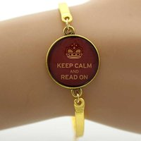 Wholesale vintage jewelry book - Wholesale- TAFREE Glass gem charm Bangle I Love Reading 'Keep Calm and Read On' Art Picture Bracelet,Book Vintage noble Jewelry