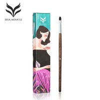 Wholesale goat fiber resale online - HUAMIANLI Brand Pro Eye Lip Concealer Makeup Brushes High Quality Fiber Wood Wool Solid Wood Rod Exquisite Box Make Up Tools