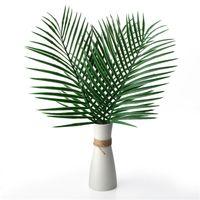 поддельный цветок лист оптовых-Искусственные тропические пальмовые листья поддельные растения искусственные большие пальмовые листья зеленая зелень для цветов расположение свадьба главная партия декор