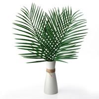 ingrosso piante tropicali falsi-Artificiale Tropical Palm foglie di falsi Piante Faux Grande Palma Foglia Verde verde, per disposizione di fiori di nozze decorazione del partito della casa