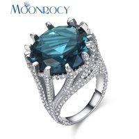 blaue geschenke für mädchen großhandel-MOONROCY Zirkonia Silber Farbe Blau Kristall CZ Ringe Partei Schmuck Hochzeit Ring Vintage für Frauen Mädchen Geschenk Drop Shipping