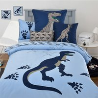 Wholesale queen size beds free shipping for sale - 100 cotton children cartoon embroidered blue dinosaur bedding set twin full queen size without filling