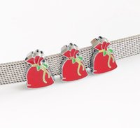 encantos do natal do cão venda por atacado-10 PCs 8 MM Enamel Natal Xmas Gift Bag Encantos de Slides Fit DIY 8mm Pet Dog Collar Nome Cintos Pulseiras