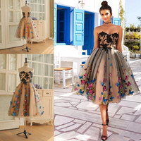 Wholesale Gold Knee Length Dresses - Real Images Knee Length Prom Dresses Colorful Butterfly Sweetheart Lace Appliques Cocktail Party Dress Lace Up Back Dresses Evening Wear