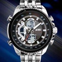 часы двойные цифровые часы оптовых-Горячие Продажи Relogio Masculino мужские Часы Спорт Роскошные Цифровые Кварцевые Аналоговые Dual Time Часы Мужчины Водонепроницаемые Наручные Часы Супер Подарок