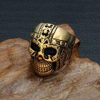 18k altın kafatası halkaları toptan satış-Punk moda çelik adam modelleme Hayalet Kafatası titanyum çelik erkek yüzük Altın veya gümüş kaplama paslanmaz çelik takı yüzük