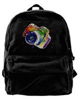 mochila de câmera vermelha venda por atacado-Unisex Aquarela Câmera - Agradável Com Cores Design Casual Lona Moda Mochila Escolar Ombro Saco de Viagem Para Adulto Vermelho