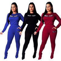 Wholesale yoga pants rhinestones for sale - women piece set tracksuit hoodie legging outfits long sleeve shirt pants sweatsuit pullover tights sportswear fashion sports suit hot v8