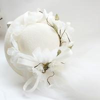 álbumes de la boda al por mayor-Venta de 2018 reales nupciales de la boda sombreros Feis venta al por mayor dulce pajarita gasa sombrero novia accesorio de la boda sesión de fotos, álbum, accesorios de vestir