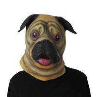 забавная животная маска для лица оптовых-100 шт./лот Мопс SharPei собака голова Маска латекс взрослых анфас Маска Хэллоуин Маска необычные платья партии косплей смешные животные Маска