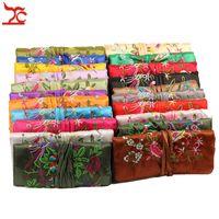 rollos de joyas de seda al por mayor-Bolsas de seda del viento chino bordado de seda 3 bolsa de cremallera anillo colgante de joyería organizador de almacenamiento de viaje bolsa de rollo 27 * 20 cm