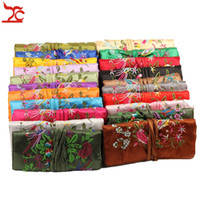 Wholesale silk chinese jewelry roll pouch - Chinese Wind Silk Pouches Embroidery Silk 3 Zipper Bag Ring Pendant Jewelry Storage Organizer Traveling Roll Bag 27*20 CM