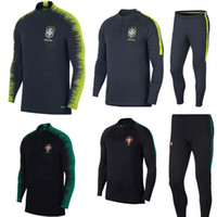 Wholesale trains bra - 2018FR Bra tracksuit training suits Uniforms shirts Chandal pogba Portugal tracksuits Survetement long sleeve tight With half RONALDO